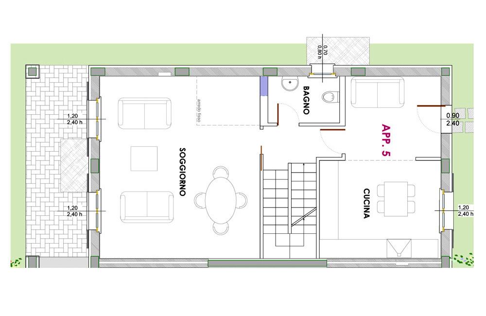 Soluzione c piano terra portico e giardino primo for Piani di fattoria con portico